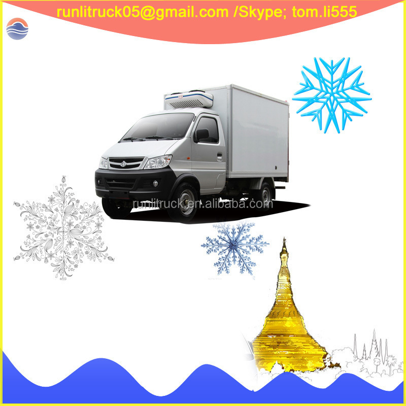 New model Changan left hand drive 4*2 0.5ton gasoline mini refrigerated truck for sale in dubai