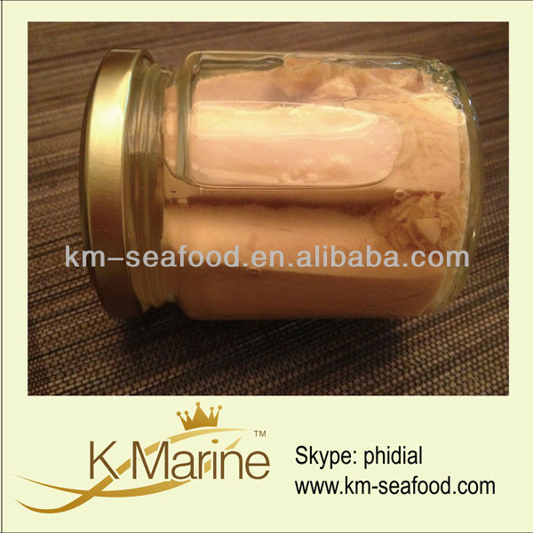 Food tuna loin steak in canning jar