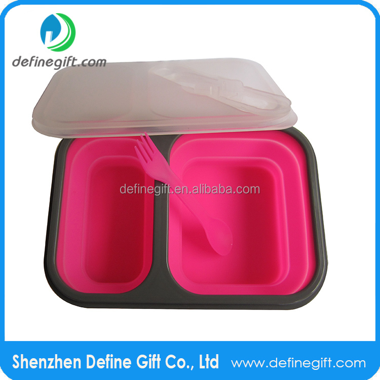 FDA LFGB Approval BPA Free 2 Compartment Collapsible Silicone Lunch Box