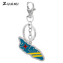 ZUNMI Promotional Aruba Skateboard Shaped Key Chain Custom State Name engraved Metal Keychain Sliver Plated Keychain UM-245