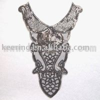Sequin motifs,sequin neckline,collar trims