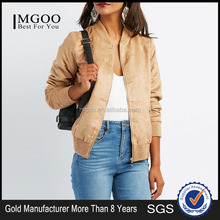 MGOO Custom Made Soft Faux Suede Bomber Jacket New Design Zippered Pockets Women's Leather Jackets