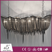 China Supplier Interior Decoration Boat Shape Iron Chain And Chrome Metal Led Chandeliers