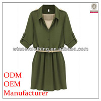 2014 Fashion Newest Design short sleeve army green Women's elegant casual dress