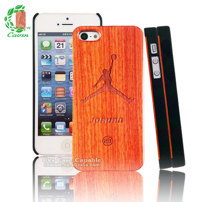 Designer Cell Phone Cases Wholesale Wood Engraved Basketball Pattern