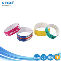 high quality printing tyvek paper id one off wristband for events