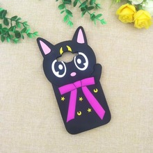 Black Rubber Silicone Luna Cat Phone Cases Mobile Phone Accessories
