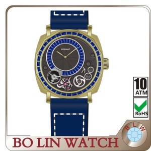 copper watch imported luminous hands, German brass CuSn8 case/Italy genuine leather/mechanical/sapphire crystal/10ATM