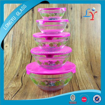 glass bowl with lid heat resistant 5pcs glass bowl set for microwave oven