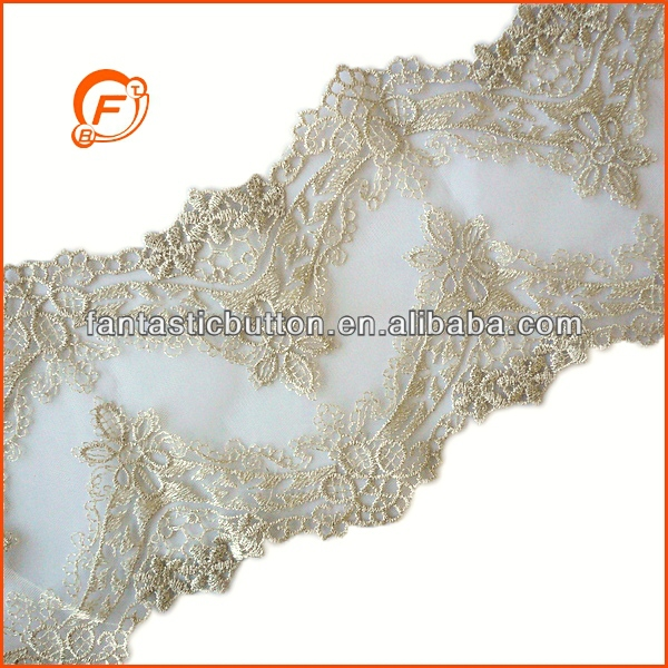 high end gold lace made with metallic yarn for wedding dress