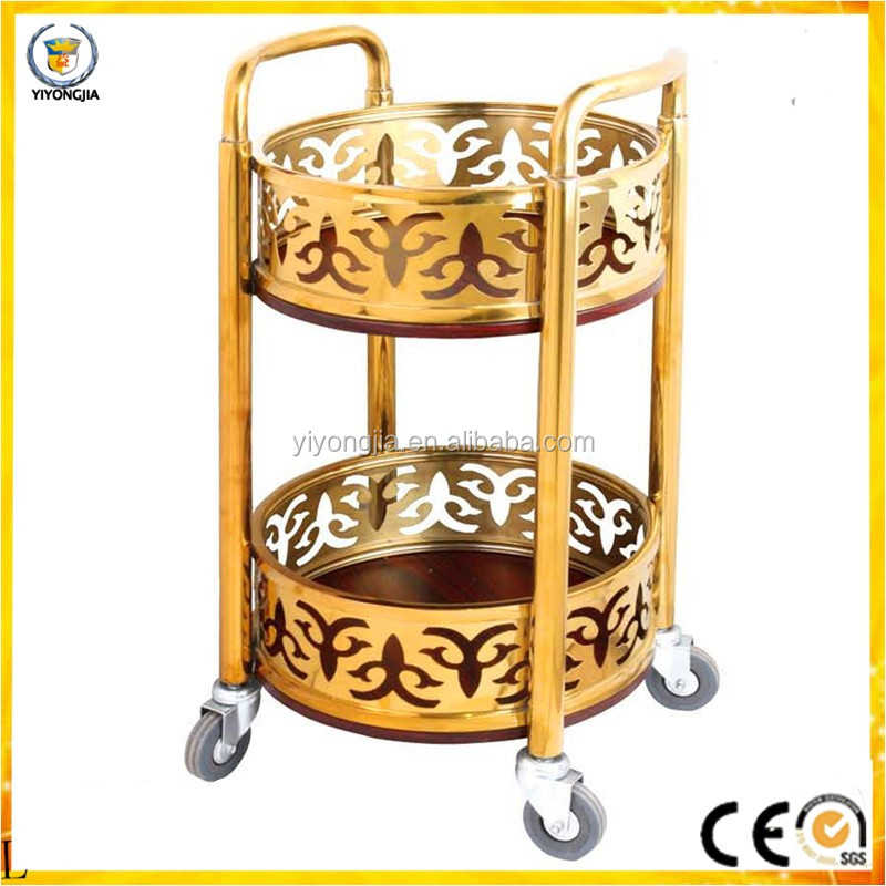 hotel wine service trolly S-91 stainless steel service cart wheels