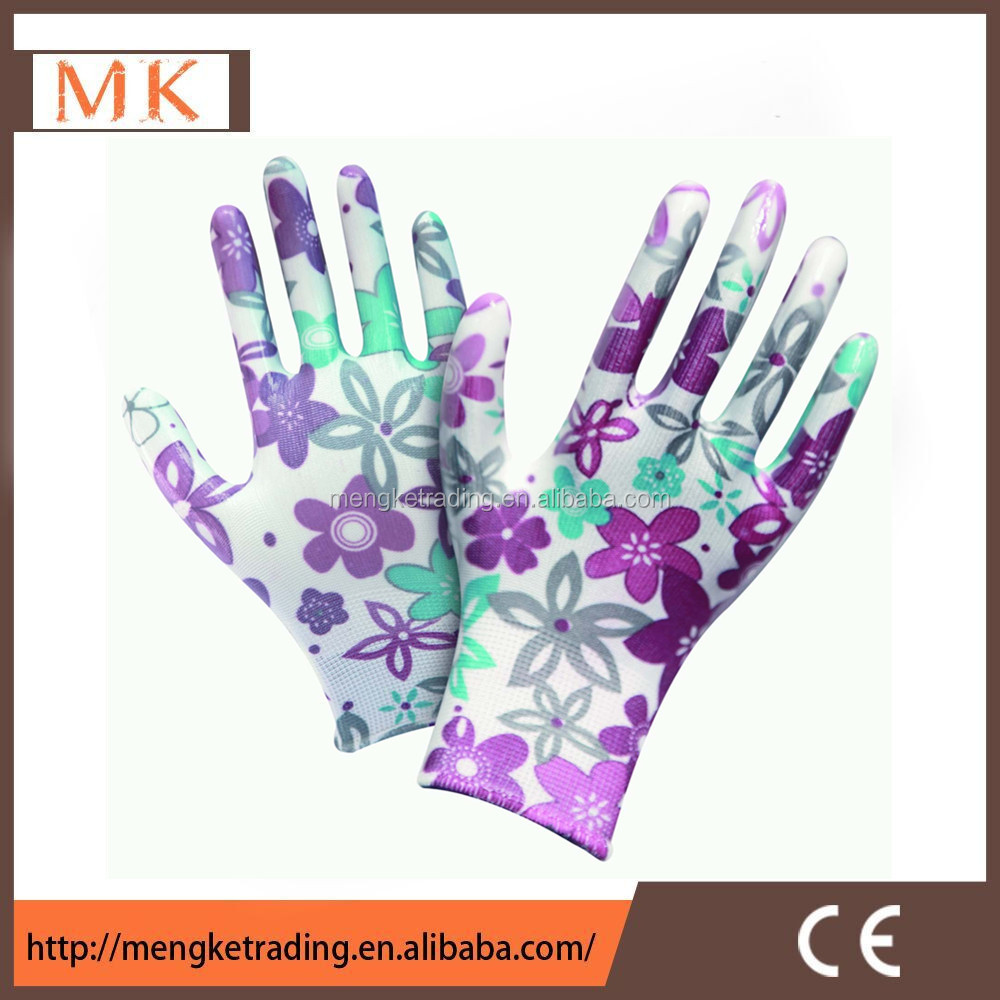 flower printing nitrile coated nylon gloves