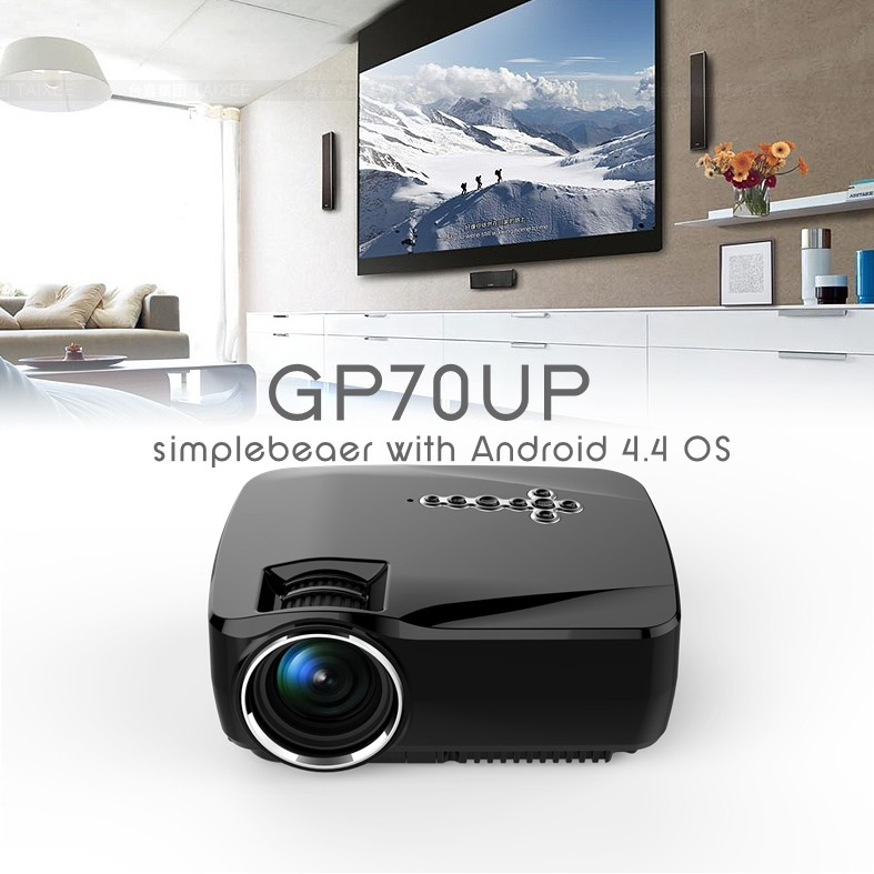 GP70UP vivibright projector,Bluetooth,WIFI, Android4.4(8G+1G) Wireless led Projector 1500 lumens home theatre beamer