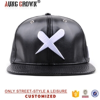 custom snapback cap/embroidery leather cap/6 panel leather cap hat
