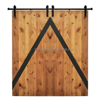 Mod-Z Double Sliding Wood Barn Doors Golden Maple Charcoal with Steel Hardware Kit
