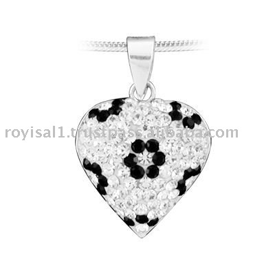 Crystal Edge Silver Black & White Collection Pendant Heart