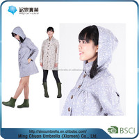 Lady's Polyester dots printing water proof raincoat prices , rubber raincoat