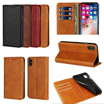 Wholesale Factory Cowhide Leather Wallet Phone Cover Case For iPhone 6 6S 7 8 Plus X Mobile Accessories