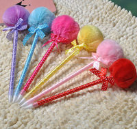 2014 colorful fur ball plastic ballpoint pen for student