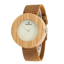 Vogue Leather and Wood Watch, Ladies Wood Look Wristwatches Men Bamboo Watch