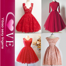 Grils' Female Knee Length Casual Red Princess Evening Wedding Dress Patterns