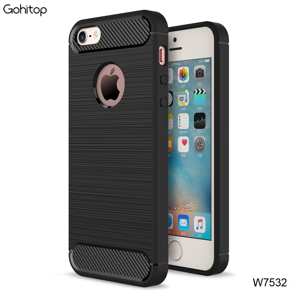 Hot Sale Carbon Fiber Shockproof TPU Phone Case for iPhone 5 5S