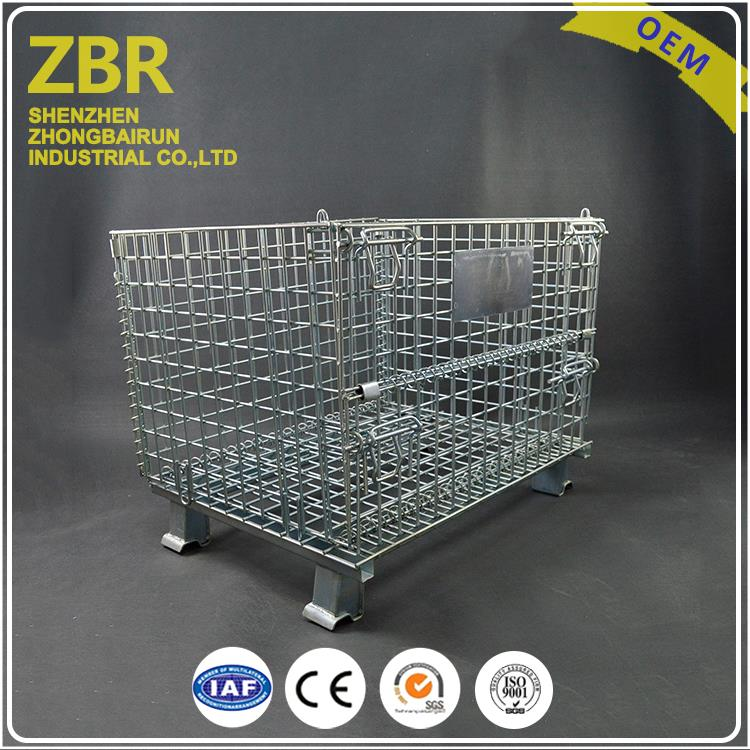 Foldable Rigid Metal Storage Cages Strong And Durable Wire Mesh Container with Red Wheels