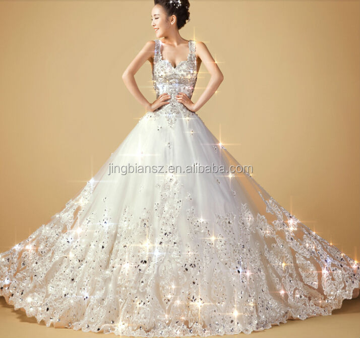 reality Wonderful luxury full crystal arabic popular design shinning ball gown bridal wedding dress #OW197