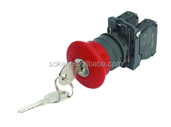 XB5-AS 142 40MM mushroom emergency stop with key plastic IP40/IP65 Waterproof electrical push button switch
