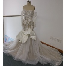 FA118 Real Made Pictures Long Sleeves Vintage Sweetheart Appliqued Beaded Long Sleeve Mermaid Wedding Bridal Dresses