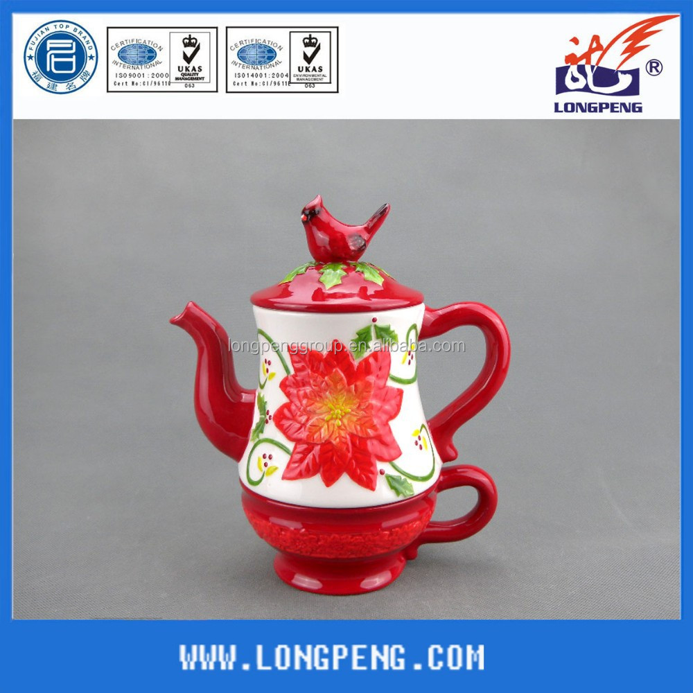 OEM Ceramic Christmas Cardinal Bird Teapots Water Pots for Christmas Ornaments