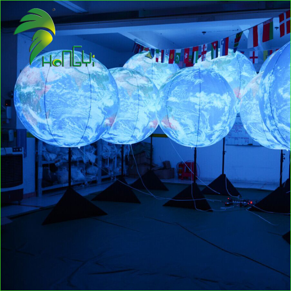 Led Lighting Inflatable Globe Balloons / Decorative Inflatable Tripod Balls / Led Inflatable Earth World Globe
