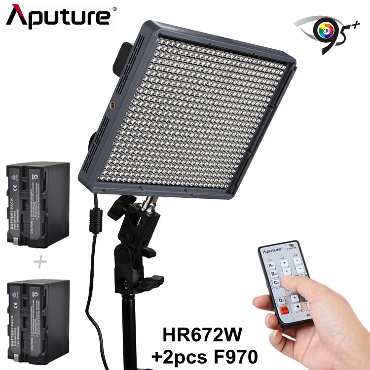 Aputure double power supply Amaran 672 led video camera light +2pcs F970 Lithium battery