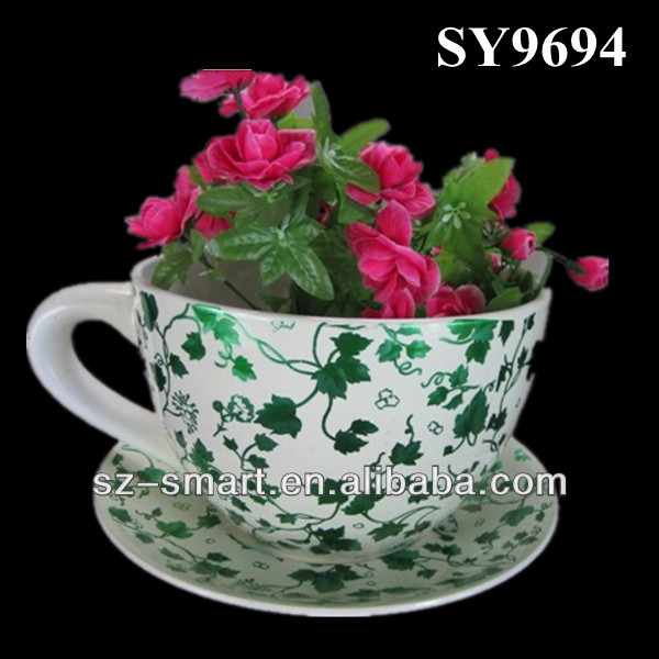 Printing Big Ceramic Cup And Saucer Flower Pot, View Ceramic Cup And ...
