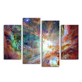 Nebula Scenery Canvas Prints 4-Panel Space Landscape Giclee Wall Art Creative Home Decoration Stretched Ready to Hang