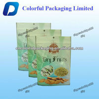 Good aseptic plastic packing Dry Food Bag/Nuts food three side seal vaccum bags with hand hole