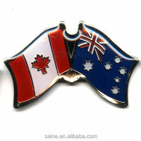 Fashion metal badge lapel pins Canada- Australia flag badge promotion gifts crafts