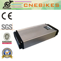 36v 14ah lituium battery on bicycle luggage carrier