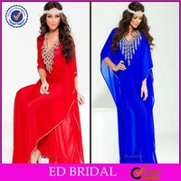 EDE141 Enchanting Rhinestone Beaded Chiffon Dubai Kaftan Evening Dresses 2016