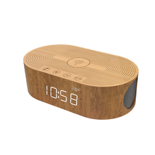 New Bluetooth 4.0 Wooden Speaker with alarm clock ,Eco-Friendly Mini Bluetooth Speaker with qi charging 3.5mm Audio Cable