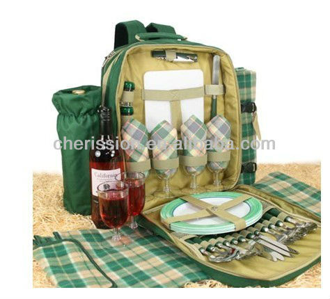 Deluxe insulated food Picnic blanket bag For 4 Flask Mugs and Travel Rug