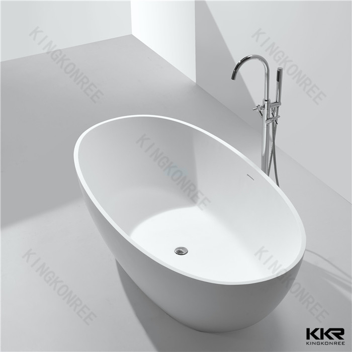 Freestanding Bath Tub Traditional Acrylic White Gloss Cast Stone Resin