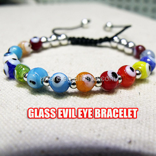 Turkish Greek Glass Evil Eye Beads Silver Beads Mixed Macrame Bracelet