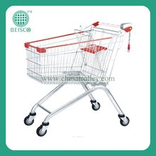60 liters zinc plated cheapest supermarket shopping cart with PVC Casters