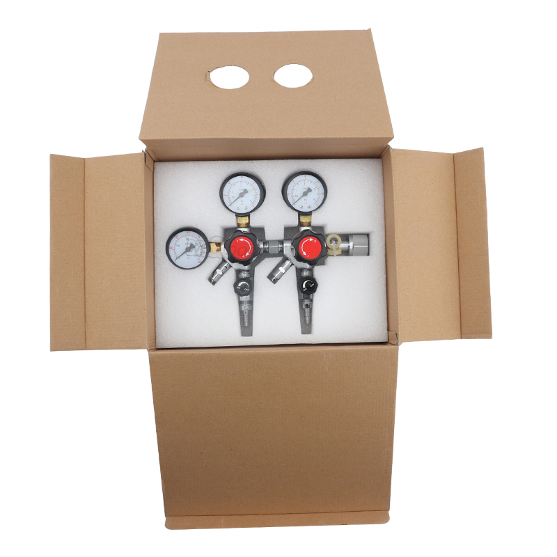 CGA320 Inlet CO2 Dual Gauge Regulator Brewing Gas Pressure CO2 Regulator with 2 Check Valves