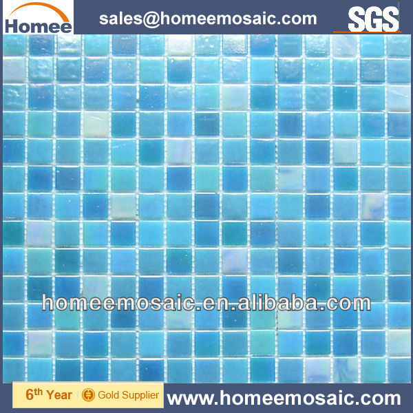 Iridescent blue swimming pool tile/cheap glass mosaic tile
