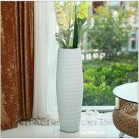 Modern pure white fashion large ceramic floor vases for hotel deco