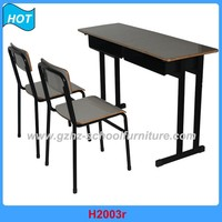 Cheap University School Furniture Strong Comfortable Student Desk and Chair 2 Seaters