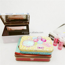 hinge lid cosmetic metal tin box with inner foam