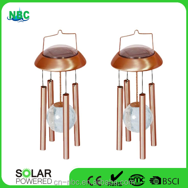 Copper Color Solar Wind Chime with Color Changing LED Light